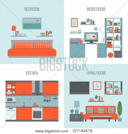 Bedroom kitchen work room living room. Front view interior set. Isolated on white background. Flat design style vector illustration.