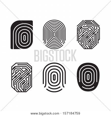 Digital fingerprint vector set. Black and white element.
