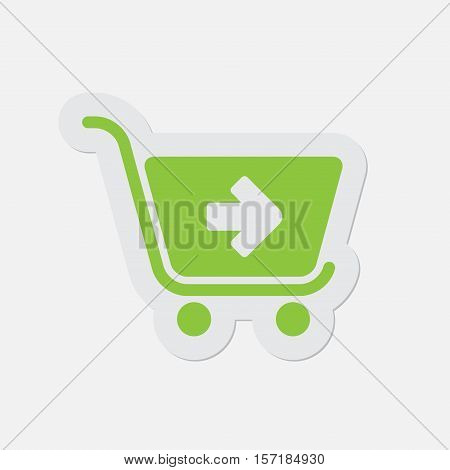 simple green icon with light gray contour and shadow - shopping cart next on a white background