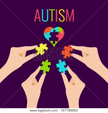 Autism awareness poster with heart and hands on purple background. Heart made of puzzle pieces as symbol of autism. Solidarity and support symbol. Medical concept. Vector illustration.