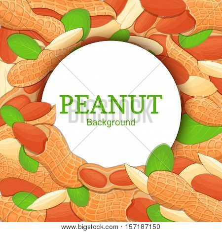 Round white frame on peanut nut background. Vector card illustration. Circle Nuts frame, walnut fruit in the shell, whole, shelled, leaves appetizing looking for packaging design of healthy food