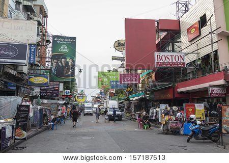 BANGKOK THAILAND - OCT 18 : scene of Khao San road on october 18 2016. Khao San road is big tourist hub of Bangkok.