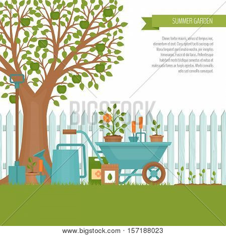 Concept of gardening. Garden tools. Banner with summer garden landscape. Flat style vector illustration.