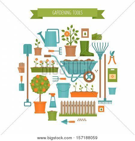Gardening. Garden tools. Flat style vector illustration.