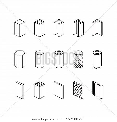 Metallurgy Products Vector Line Icons Set. Steel Structure And Pipe.