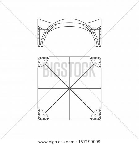 Event tent. Folding tent wedding tent canopy. Vector illustration.