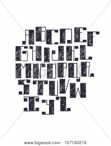 Hand drawn vector font with large bold square serif handwritten with pen and ink. Abc letters sequence in sketch hatch style isolated on white background. Large capital geometric alphabet letters.