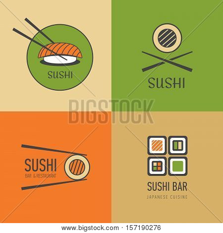 Sushi Cafe Logotypes Vector Set. Logo For Japanese Restaurant Or Menu.