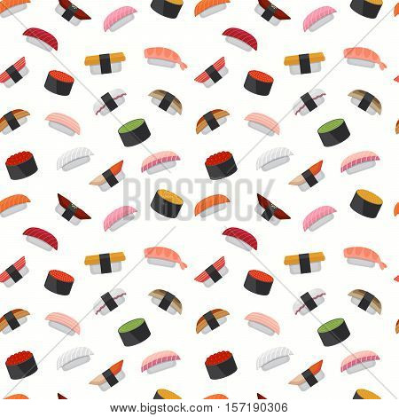 Seamless pattern for sushi menu. Japanese cuisine background. Vector illustration flat style.
