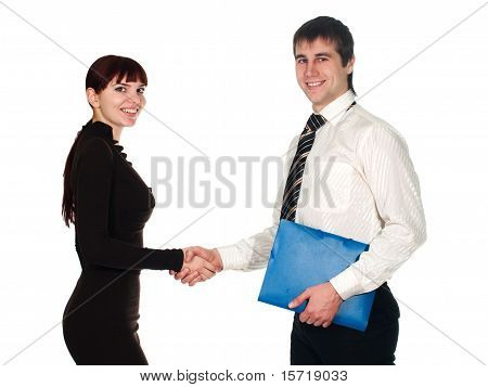 Young Businesswoman And Businessman Shaking Hands