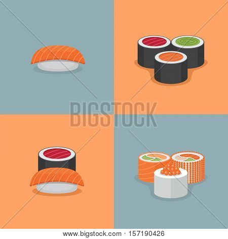 Sushi and roll illustration set. Flat style. Vector Illustration.