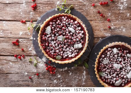 Freshly Baked Cranberry Tart With Powdered Sugar And Mint Close-up. Horizontal Top View