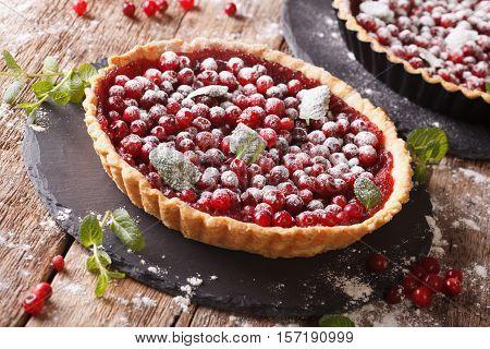 Cranberry Tart With Jam, Powdered Sugar And Mint Close-up. Horizontal