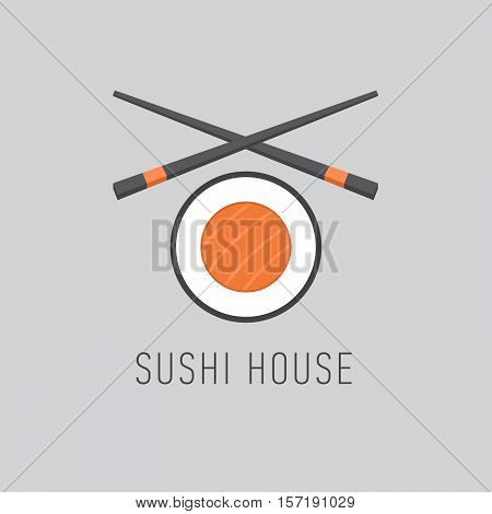 Sushi bar logotype with roll and sticks. Flat style. Vector Illustration.