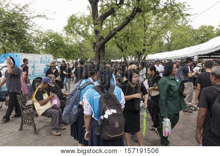 BANGKOK THAILAND - OCT 19 : crowd of people in Sanam Luang area while the funeral of king Bhumibol Adulyadej in Grand Palace on october 19 2016