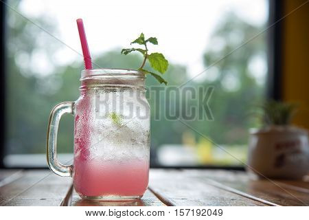Iced Lychee/lychee Fizzy Drink With Mint And Soda