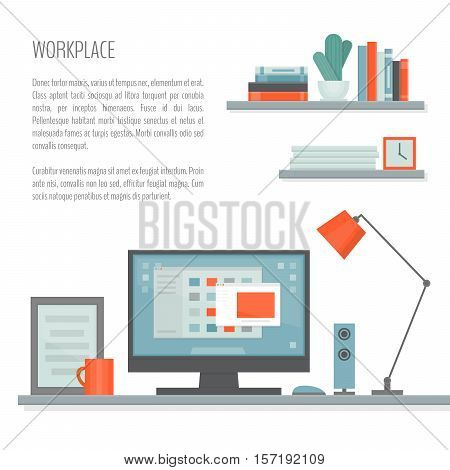 Workplace with desk computer shelves and equipment. Workspace. Home office. Work room modern interior. Flat design style vector illustration.