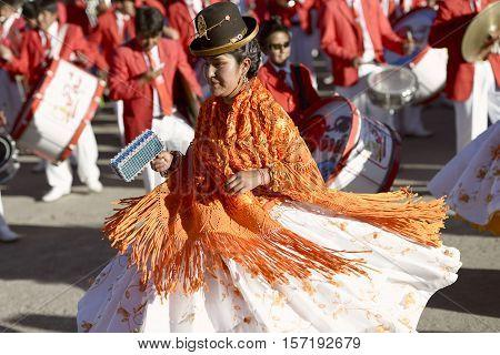 Aymara women dancing at the Festival of the Virgen del Rosario in Chucuito. October 16, 2012 - Chucuito, Puno, Peru.