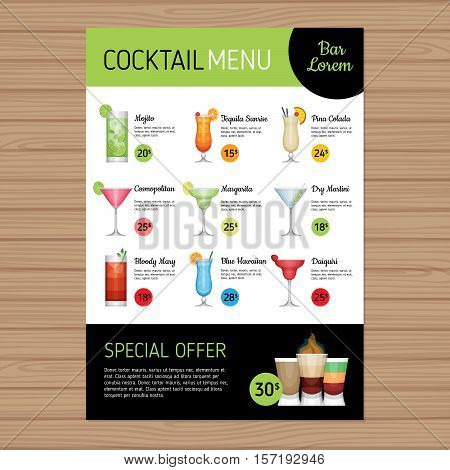 Cocktail Menu Design. Alcohol Drinks. A4 Size And Flyer Layout Template. Cover Bar Menu Brochure Wit