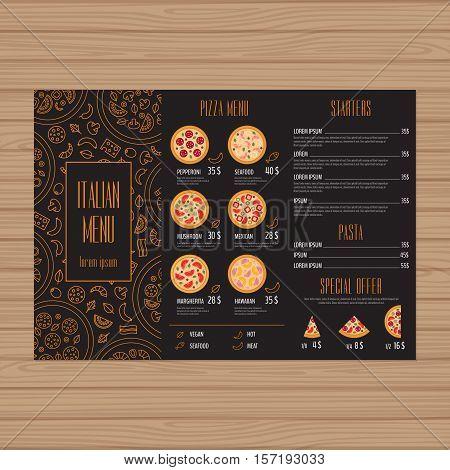 Pizza Menu Design. Tri-fold Leaflet Layout Template. Restaurant Brochure With Modern Line Graphic. V