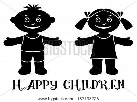Cartoon People, Set of Happy Children, Funny Little Boy and Girl, Standing with Arms Wide Open and Smiling, Black Silhouette Isolated on White Background. Vector