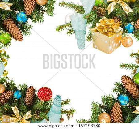 christmas tree and decorations isolated on white background