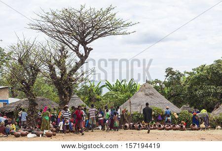 Terracotta Pots Stalls At Local Village Market. Bonata. Omo Valley. Ethiopia.