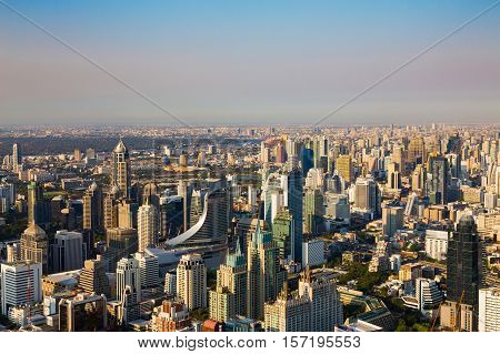 City of Bangkok central business area skyline background, Thailand