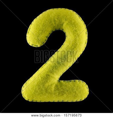 Number 2. Hand made number Two from green felt. Set of numbers from colorful felt isolated on black background