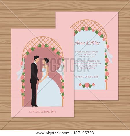 Wedding Invitation With Bride And Groom On The Background Of A Wedding Arch. Vector Illustration.