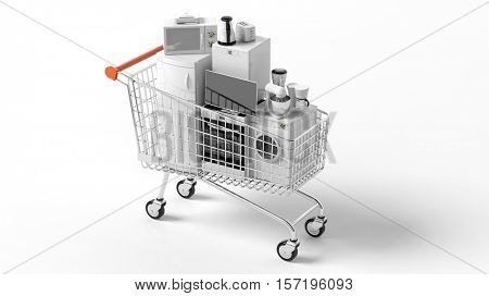 3d rendering set of home appliances in a trolley