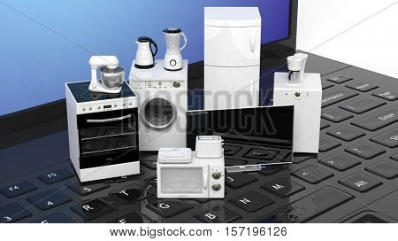 3d rendering set of home appliances on a computer