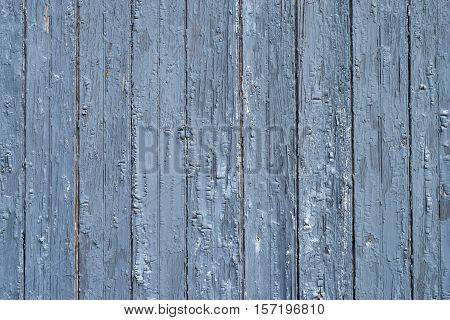 Aged, Chipped Painted Blue Wooden Planks Background