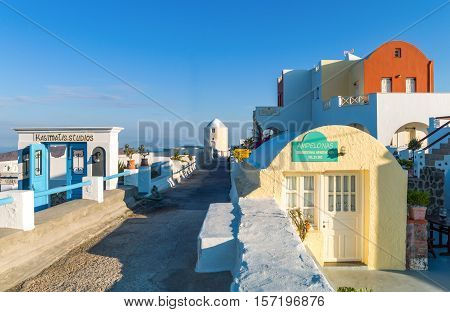 Santorini Greece - October 13 2012: View of Imerovigli village in the light of the early morning