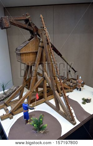 Wood reproduction of a medieval era war catapult