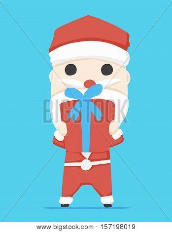 santa claus character  Gift Box and icon cartoon ,vector illustration