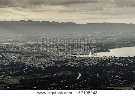 View of Geneva from Saleve mountain, retro