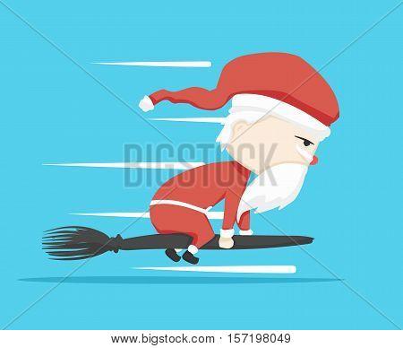 santa claus character Magic wand and icon cartoon ,vector illustration