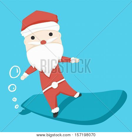 santa claus character play Surf Boards and icon cartoon ,vector illustration