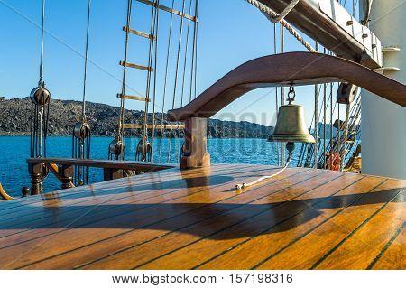 Greece Santorini detail of a Brigantine in navigation in the Caldera sea area