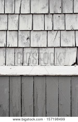 Painted White Shake Shingles with Gray Wainscoting Background