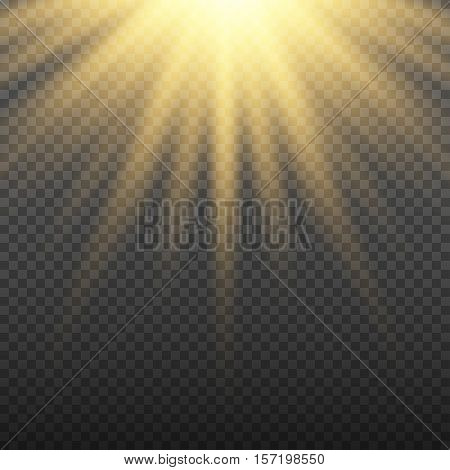 Gold glowing light burst explosion on transparent background. Bright yellow flare effect decoration with ray sparkles. Transparent shine gradient glare texture. Vector illustration lights effect eps10