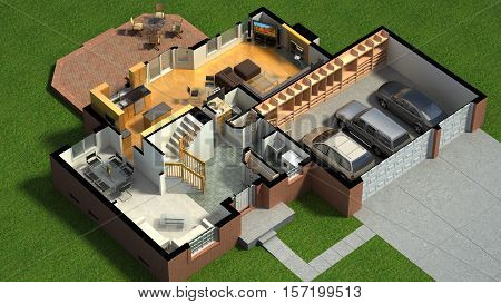3D illustration of a furnished residential house isometric, with the first-floor plan, showing the living room, dining room, foyer, terrace and garage.