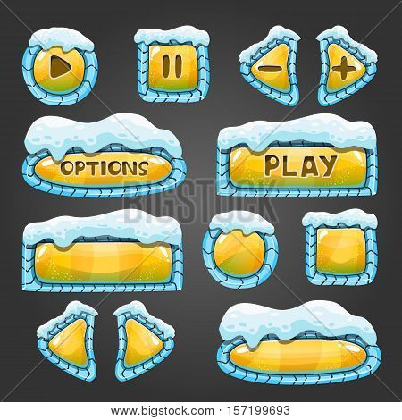 Winter cartoon yellow buttons with snow. Game interface design