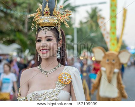 PATTAYA, THAILAND - FEBRUARY 25, 2016: Colorful lively street parade at Beach Road in Pattaya. Pattay is the busiest tourist destination in Thailand.