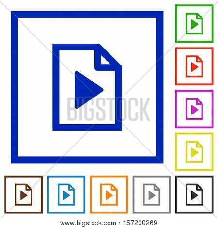 Playlist flat color icons in square frames