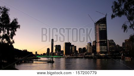 Brisbane city, Australia at the dusk. Made from south bank.