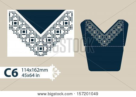 Template congratulatory envelope with carved openwork pattern. Template is suitable for greeting cards invitations etc. Picture suitable for laser cutting or printing. Vector. Easy to edit poster