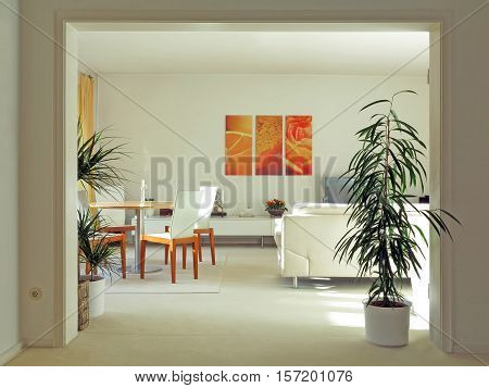 double door way to a modern living room in pastel colors
