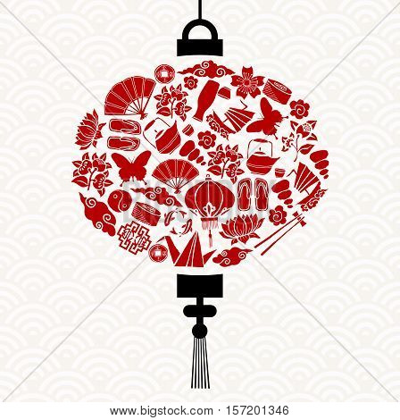 Chinese New Year Lantern With Red Asian Icons